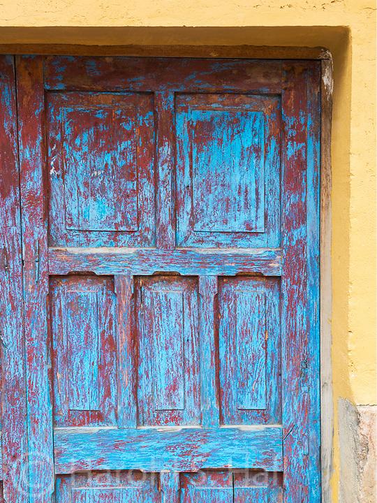 An old door in Ollantaytambo, Peru.