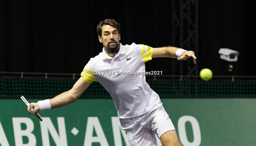 Rotterdam, The Netherlands, 2 march  2021, ABNAMRO World Tennis Tournament, Ahoy, First round match: Jeremy Chardy (FRA).<br /> Photo: www.tennisimages.com/henkkoster