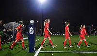 illustration picture showing the Woluwe players entering the pitch during a female soccer game between  Racing Genk Ladies and White Star Woluwe on the seventh matchday of the 2020 - 2021 season of Belgian Scooore Womens Super League , friday 13 th of November 2020  in Genk , Belgium . PHOTO SPORTPIX.BE | SPP | DAVID CATRY