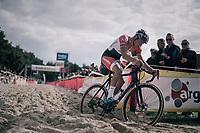 race leader Mathieu van der Poel (NED/Beobank-Corendon) plowing through the sand<br /> <br /> CX Brico Cross Eeklo 2017 (BEL)