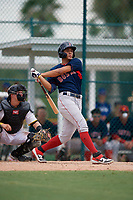 GCL Red Sox Leon Paulino (23) bats during a Gulf Coast League game against the GCL Pirates on August 1, 2019 at Pirate City in Bradenton, Florida.  GCL Red Sox defeated the GCL Pirates 11-3.  (Mike Janes/Four Seam Images)