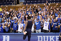 DUKE, NC - FEBRUARY 15: T.J. Gibbs #10 of the University of Notre Dame is mimicked by the Cameron Crazies during a game between Notre Dame and Duke at Cameron Indoor Stadium on February 15, 2020 in Duke, North Carolina.