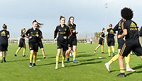 20190226 - LARNACA , CYPRUS : illustration picture shows the Belgian players during a Matchday -1 training from The Belgian Red Flames prior to their game against the women team of Slovakia , on Tuesday 26 February 2019 at the Alpha Sports Grounds in Larnaca , Cyprus . This will be the first game in group C for Belgium during the Cyprus Womens Cup 2019 , a prestigious women soccer tournament as a preparation on the European Championship 2021 qualification duels. PHOTO SPORTPIX.BE   DAVID CATRY