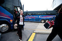 SPOKANE, WA - MARCH 26, 2011: Kayla Pedersen Stanford Women's Basketball pre-game festivites at the Davenport Hotel, NCAA West Regionals on March 26, 2011.