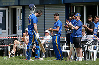 J Evans of Upminster leaves the field having been dismissed for 115 during Upminster CC vs Fives & Heronians CC, Hamro Foundation Essex League Cricket at Upminster Park on 5th June 2021