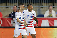 Chester, PA - Monday May 28, 2018: Christian Pulisic and Weston McKennie celebrate during an international friendly match between the men's national teams of the United States (USA) and Bolivia (BOL) at Talen Energy Stadium.