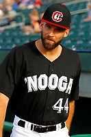 Paco Rodriguez (44) of the Chattanooga Lookouts prior to the start of the game against the Montgomery Biscuits on May 25, 2018 at AT&T Field in Chattanooga, Tennessee. (Andy Mitchell/Four Seam Images)