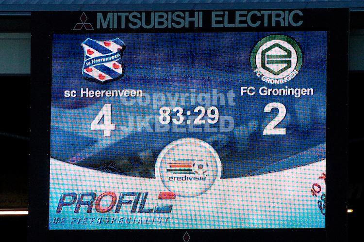 heerenveen - fc groningen eredivisie seizoen 2007-2008 09-12- 2007 scorebord.fotograaf Jan Kanning *** Local Caption ***