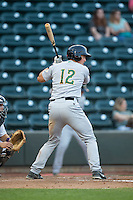 Daniel Salters (12) of the Lynchburg Hillcats at bat against the Winston-Salem Dash at BB&T Ballpark on April 28, 2016 in Winston-Salem, North Carolina.  The Dash defeated the Hillcats 4-1.  (Brian Westerholt/Four Seam Images)