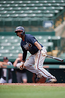 GCL Braves Darling Florentino (52) bats during a Gulf Coast League game against the GCL Orioles on August 5, 2019 at Ed Smith Stadium in Sarasota, Florida.  GCL Orioles defeated the GCL Braves 4-3 in the first game of a doubleheader.  (Mike Janes/Four Seam Images)