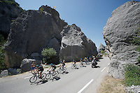 peloton led by Team SKY riding through the Claps (rock formations) de Luc en Diois<br /> <br /> stage 16: Bourg de Péage - Gap (201km)<br /> 2015 Tour de France