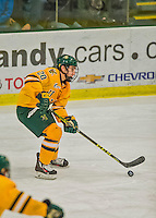 19 February 2016: University of Vermont Catamount Forward Brendan Bradley, a Junior from Warminster, PA, in first period action against the Boston College Eagles at Gutterson Fieldhouse in Burlington, Vermont. The Eagles defeated the Catamounts 3-1 in the first game of their weekend series. Mandatory Credit: Ed Wolfstein Photo *** RAW (NEF) Image File Available ***