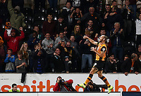 David Meyler of Hull City celebrates scoring the opening goal during the Capital One Cup match between Hull City and Swansea City played at the Kingston Communications Stadium, Hull