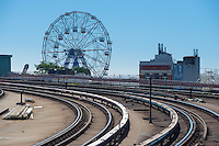 Wonder wheel of Coney Island luna park over subway tracks, Brooklyn, New York