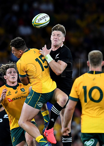 7th November 2020, Brisbane, Australia; Tri Nations International rugby union, Australia versus New Zealand;  Jordie Barrett of the All Blacks in action