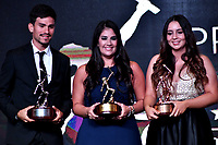 BOGOTÁ-COLOMBIA, 03-12-2019: Pedro Causil (Izq.) Atius de Plata, Maria Jose Rodriguez (Cent.) Altius de Oro y Sara Lopez (Der.) Altius de Bronce en deportes no incluidos en el programa de los Juegos Ol'mpicos, durante ceremonia de premiaci—n del Deportista Altius del Año 2019, por el Comite Olimpico Colombiano (COC), en ceremonia realizada en el Hotel Grand Hyatt en la ciudad de Bogota. / Pedro Causil (L) Silver Atius,  Maria Jose Rodriguez (C) Gold Altius and Sara Lopez (R) Bronze Altius in sports not included in the program of the Olympic Games, during the award ceremony of the Altius Sportsman of the Year 2019, by the Colombian Olympic Committee (COC), in a ceremony held at the Grand Hyatt Hotel in the city of Bogota. / Photo: VizzorImage / Luis Ram'rez / Staff.