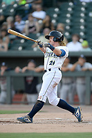 Second baseman Nick Conti (21) of the Columbia Fireflies bats in a game against the Rome Braves on Saturday, August 17, 2019, at Segra Park in Columbia, South Carolina. Rome won, 4-0. (Tom Priddy/Four Seam Images)