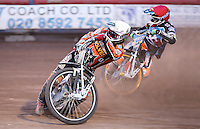 Heat 13: Tai Woffinden (white) and Rory Schlein (red) - Lakeside Hammers vs Wolverhampton Wolves, Elite League Speedway at the Arena Essex Raceway, Pufleet - 04/07/14 - MANDATORY CREDIT: Rob Newell/TGSPHOTO - Self billing applies where appropriate - 0845 094 6026 - contact@tgsphoto.co.uk - NO UNPAID USE
