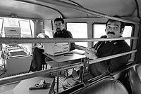 - Milano 1984, Vigili Urbani, interno del furgone con l'apparecchiatura per il controllo degli eccessi di velocità<br /> <br /> - Milan 1984, traffic police, inside the van with the equipment for the control of excess speeds