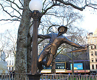Launch of a trail of cinematic bronze statues - 'Scenes in the Square' in London's Leicester Square, celebrating the location's rich history as the home of film and marking the square's 350th anniversary. February 27th 2020<br />