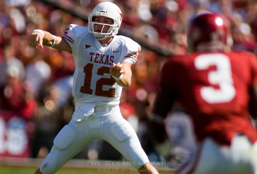 07 October 2006: Texas quarterback Colt McCoy releases a pass during the Longhorns game against the University of Oklahoma Sooners at the Cotton Bowl in Dallas, TX.