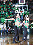North Texas Mean Green cheerleaders in action during the game between the Louisiana Lafayette Ragin Cajuns and the University of North Texas Mean Green at the North Texas Coliseum,the Super Pit, in Denton, Texas. Louisiana Lafayette defeats UNT 57 to 53.