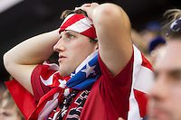 Fans of the United States Men's National Team react to Guatemala scoring an early goal against the United States at Livestrong Sporting Park in Kansas City, Kansas in a World Cup Qualifier on Tue. Oct. 16, 2012.