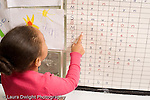 Preschool ages 3-5 girl pointing at letters on name chart horizontal