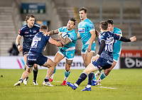 8th January 2021; AJ Bell Stadium, Salford, Lancashire, England; English Premiership Rugby, Sale Sharks versus Worcester Warriors; Francois Hougaard of Worcester Warriors is tackled by  Sam Hill of Sale Sharks