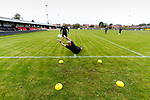 Andy Graves Manager of Hucknall Town helping Jake Pearson, Hucknall Town goalkeeper to warm up. Hucknall Town v Heanor Town, 17th October 2020, at the Watnall Road Ground, East Midlands Counties League. Photo by Paul Thompson.