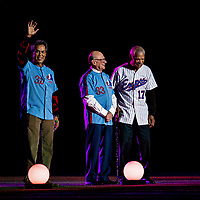 25 March 2019: Former Montreal Expos Manager Filipe Alou stands with former Expo pitcher Dennis Martinez (left) and play-by—play radio announcer Jacques Doucet during pre-game ceremonies commemorating the 50-year anniversary of the Expos prior to an exhibition game between the Toronto Blue Jays and the Milwaukee Brewers at Olympic Stadium in Montreal, Quebec, Canada. The Brewers defeated the Blue Jays 10-5 in the first of two MLB pre-season games in the former home of the Montreal Expos. Mandatory Credit: Ed Wolfstein Photo *** RAW (NEF) Image File Available ***