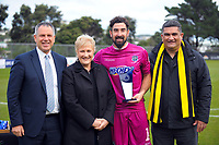 Deryck Shaw, Annette King, Enaut Zubikarai and Paul Eagle with the golden glove award after the Oceania Football Championship final (second leg) football match between Team Wellington and Auckland City FC at David Farrington Park in Wellington, New Zealand on Sunday, 7 May 2017. Photo: Dave Lintott / lintottphoto.co.nz