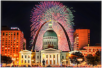 4th of July fireworks in St. Louis, MO.