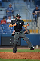 Home plate umpire Jhonatan Biarreta calls a batter out on strikes during a game between the Palm Beach Cardinals and the Charlotte Stone Crabs on April 20, 2018 at Charlotte Sports Park in Port Charlotte, Florida.  Charlotte defeated Palm Beach 4-3.  (Mike Janes/Four Seam Images)
