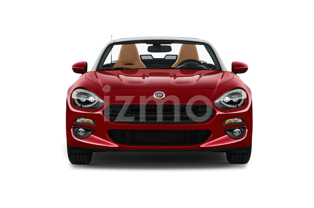 Car photography straight front view of a 2018 Fiat 124-Spider 1.4-Lusso 2 Door Convertible Front View