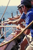 Sailors working on Tallship ELISSA. Galveston Texas.