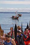 Canoe Journey, Paddle to Nisqually, 2016, Makah tribe, Makah canoes, landing, Port Townsend, Fort Worden, Olympic Peninsula, Puget Sound, Salish Sea, Washington State, USA,