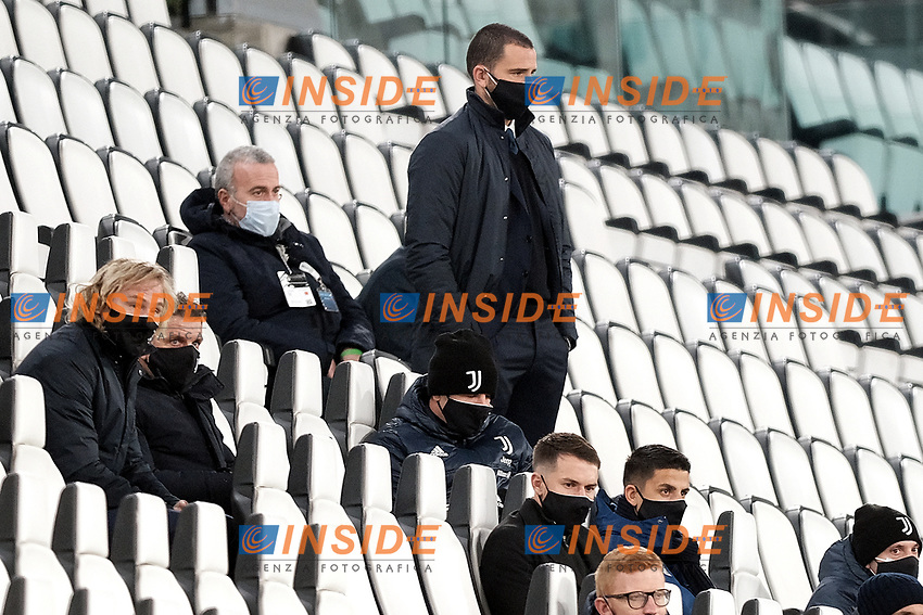 Leonardo Bonucci of Juventus FC attends from the stands the Serie A football match between Juventus FC and Cagliari Calcio at Allianz stadium in Torino (Italy), November21th, 2020. Photo Federico Tardito / Insidefoto