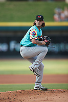 Llamas de Hickory starting pitcher Cole Ragans (31) in action against the Winston-Salem Rayados at Truist Stadium on July 6, 2021 in Winston-Salem, North Carolina. (Brian Westerholt/Four Seam Images)