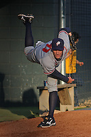 Potomac Nationals pitcher Kyle Winters #40 warming up in the bullpen before a game against the Myrtle Beach Pelicans at Tickerreturn.com Field at Pelicans Ballpark on April 12, 2012 in Myrtle Beach, South Carolina. Myrtle Beach defeated Potomac by the score of 1-0. (Robert Gurganus/Four Seam Images)