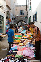 Tripoli, Libya - Medina Street Scene, Selling Towels, Clothes