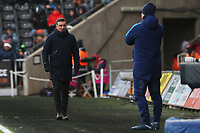 Swansea City manager Carlos Carvalhal and Tottenham Hotspur manager Mauricio Pochettino during the Fly Emirates FA Cup Quarter Final match between Swansea City and Tottenham Hotspur at the Liberty Stadium, Swansea, Wales, UK. Saturday 17 March 2018