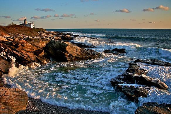 Beavertail Lighthouse at sunset.