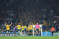 Matt Giteau of Australia celebrates scoring the final try in front of Wallabies fans during Match 26 of the Rugby World Cup 2015 between England and Australia - 03/10/2015 - Twickenham Stadium, London<br /> Mandatory Credit: Rob Munro/Stewart Communications