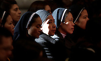 Alcune suore assistono alla Messa dell'Epifania celebrata da Papa Francesco nella Basilica di San Pietro, Città del Vaticano, 6 gennaio 2017.<br /> Nuns attend the Epiphany Mass led by Pope Francis in Saint Peter's Basilica at the Vatican, on January 6 2017.<br /> UPDATE IMAGES PRESS/Isabella Bonotto<br /> <br /> STRICTLY ONLY FOR EDITORIAL USE