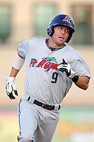 Fort Myers Miracle shortstop Levi Michael #9 during a game against the Palm Beach Cardinals at Roger Dean Stadium on May 2, 2012 in Jupiter, Florida.  Fort Myers defeated Palm Beach 2-1.  (Mike Janes/Four Seam Images)