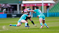 17th April 2021; Twickenham Stoop, London, England; English Premiership Rugby, Harlequins versus Worcester Warriors; Luke Northmore of Harlequins is held up in the tackle by Venter of Worcester warriors and Beck of Worcester warriors