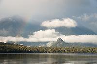 Lake Manapouri and Monument with rainbow, Fiordland National Park, UNESCO World Heritage Area, Southland, New Zealand, NZ