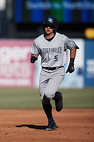 Anthony Volpe (5) of the Hudson Valley Renegades rounds the bases after hitting a home run against the Greensboro Grasshoppers at First National Bank Field on September 2, 2021 in Greensboro, North Carolina. (Brian Westerholt/Four Seam Images)