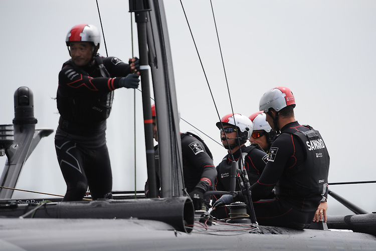 SoftBank Team Japan, JULY 24, 2016 - Sailing: SoftBank Team Japan's crew take a break between races during day two of the Louis Vuitton America's Cup World Series racing, Portsmouth, United Kingdom. (Photo by Rob Munro/Stewart Communications)